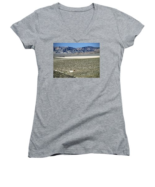 Women's V-Neck T-Shirt (Junior Cut) featuring the photograph Camped At The End Of The Road by Joe Schofield