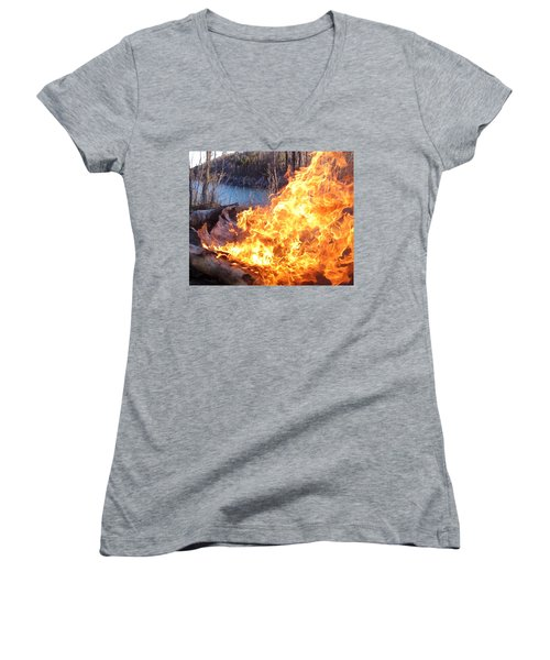 Women's V-Neck T-Shirt (Junior Cut) featuring the photograph Campfire by James Peterson