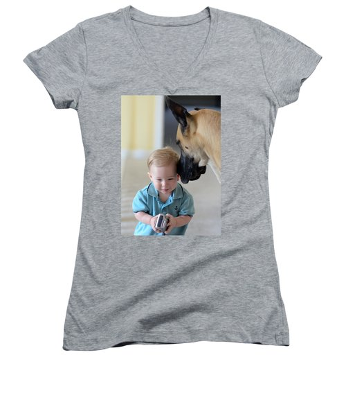 Women's V-Neck T-Shirt (Junior Cut) featuring the photograph Can You Hear Me Now by Lisa Phillips