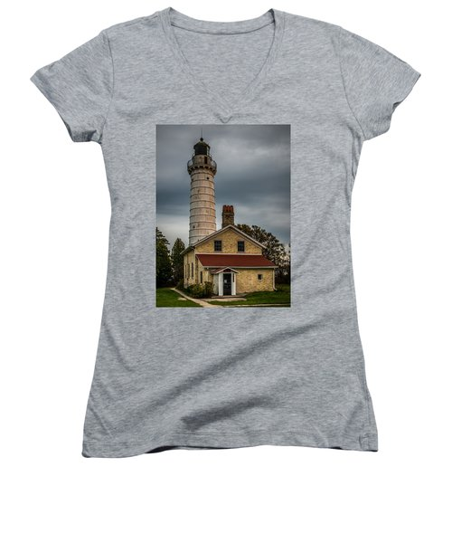 Cana Island Lighthouse By Paul Freidlund Women's V-Neck T-Shirt (Junior Cut) by Paul Freidlund