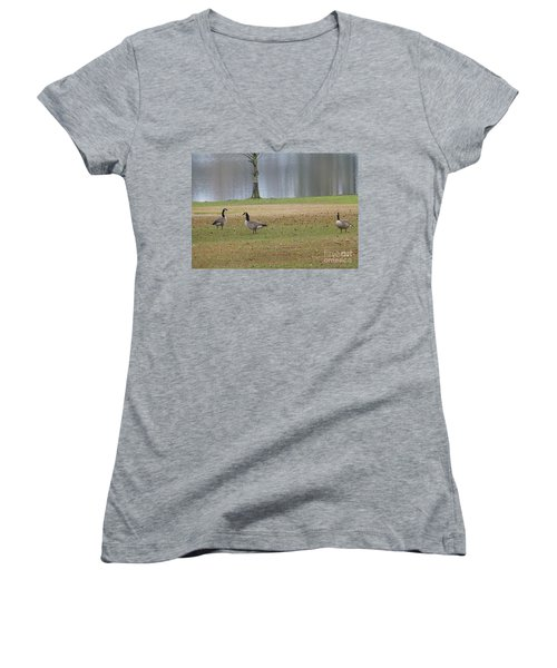 Canadian Geese Tourists Women's V-Neck T-Shirt (Junior Cut) by Joseph Baril