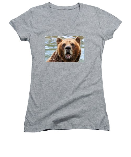 Canadian Grizzly Women's V-Neck T-Shirt