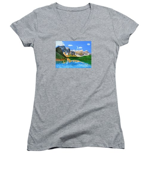Women's V-Neck T-Shirt (Junior Cut) featuring the painting Canadian Mountains And Lake  by Magdalena Frohnsdorff