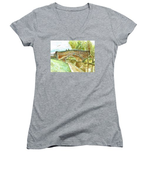 Women's V-Neck T-Shirt (Junior Cut) featuring the painting Canal-bridal Path In Staffordshire  by Teresa White