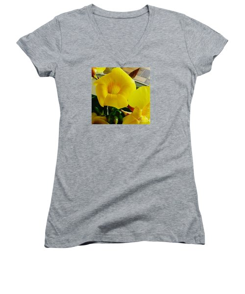 Canario Flower Women's V-Neck T-Shirt (Junior Cut) by The Art of Alice Terrill