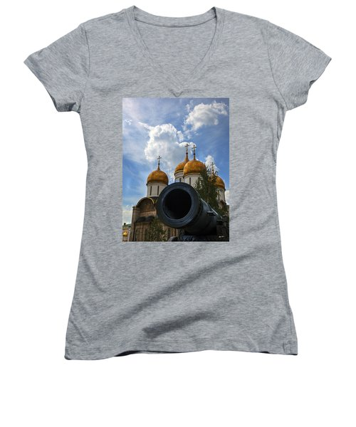 Cannon And Cathedral  - Russia Women's V-Neck T-Shirt (Junior Cut) by Madeline Ellis