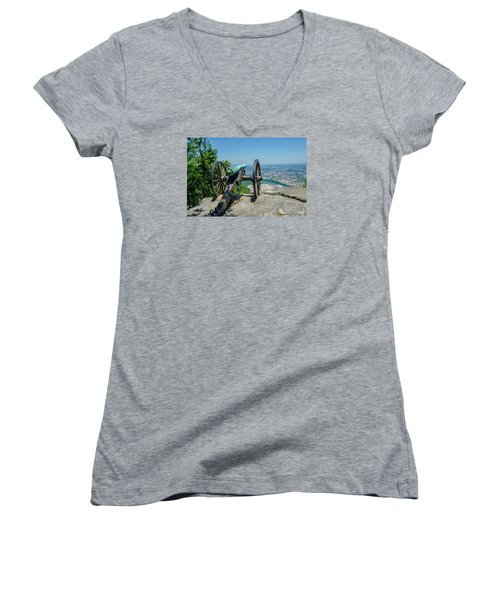 Women's V-Neck T-Shirt (Junior Cut) featuring the photograph Cannon At Point Park by Susan  McMenamin