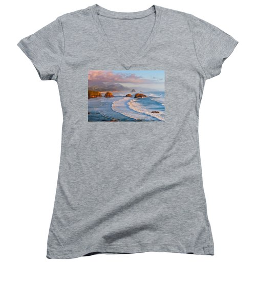 Cannon Beach Sunset Women's V-Neck