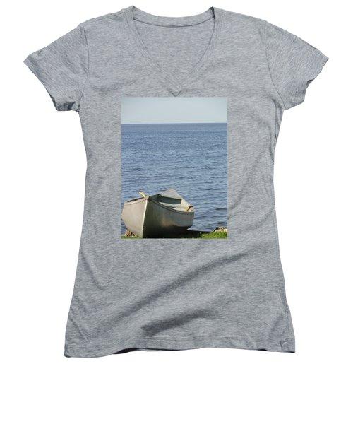 Women's V-Neck T-Shirt (Junior Cut) featuring the photograph Canoe by Tiffany Erdman
