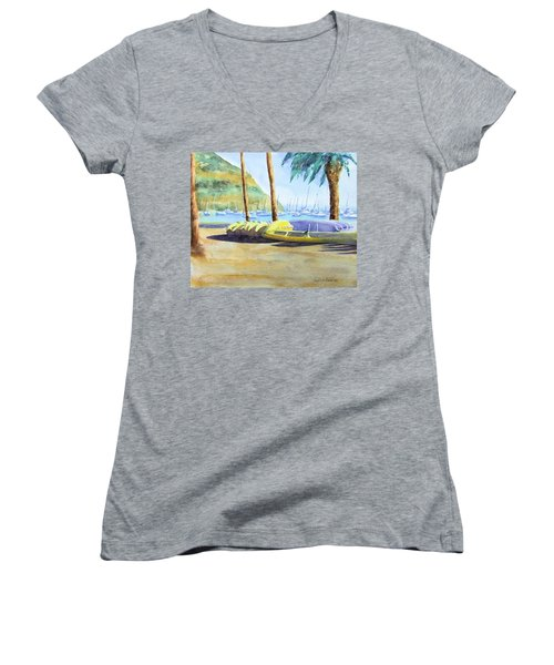 Canoes And Surfboards In The Morning Light - Catalina Women's V-Neck