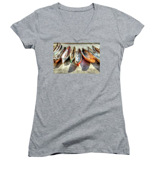 Canoes Women's V-Neck T-Shirt (Junior Cut) by Debra and Dave Vanderlaan