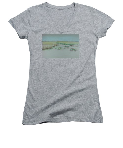 Women's V-Neck T-Shirt (Junior Cut) featuring the pastel Canyon View by Michele Myers
