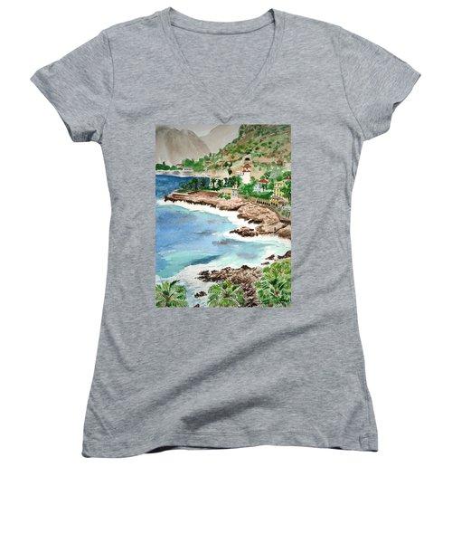 Cap D'ail On A Rainy Day Women's V-Neck T-Shirt