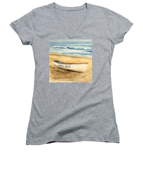 Cape May Lifeguard Boat - 2 Women's V-Neck (Athletic Fit)