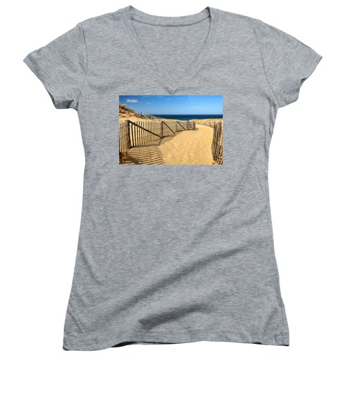 Cape Cod Beach Women's V-Neck T-Shirt (Junior Cut) by Mitchell R Grosky