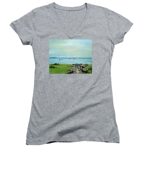 Cape Cod  Boats Women's V-Neck T-Shirt (Junior Cut) by Judith Rhue