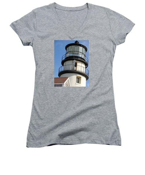 Women's V-Neck T-Shirt (Junior Cut) featuring the photograph Cape Cod Lighthouse by Ira Shander