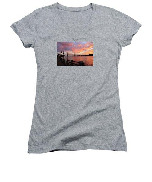 Cape Fear Bridge Women's V-Neck T-Shirt (Junior Cut) by Cynthia Guinn