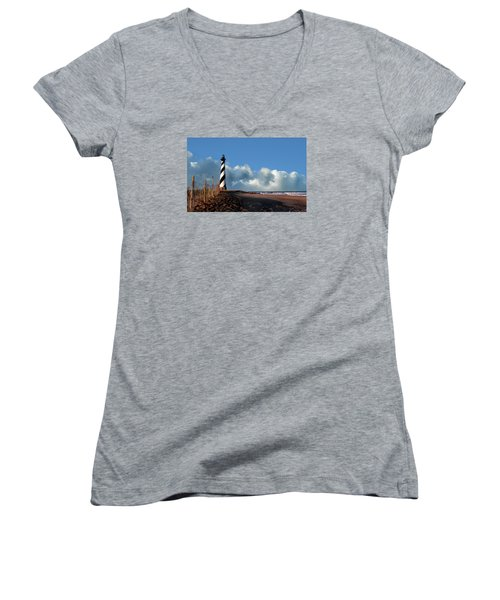 Cape Hatteras Lighthouse Nc Women's V-Neck T-Shirt (Junior Cut) by Skip Willits