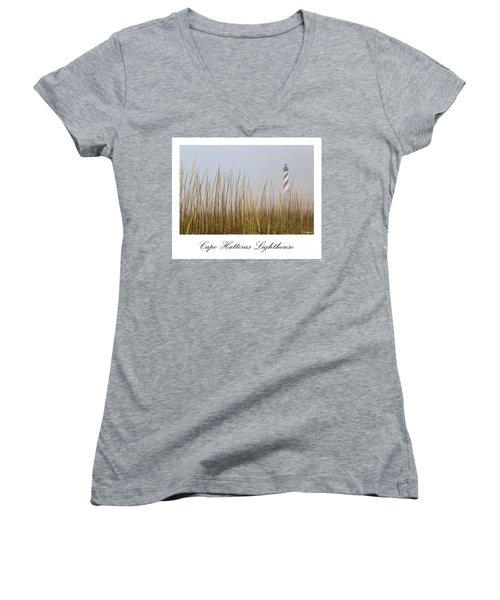 Cape Hatteras Lighthouse In The Fog Women's V-Neck T-Shirt (Junior Cut) by Tony Cooper