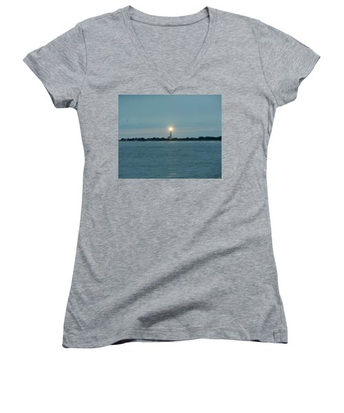 Women's V-Neck T-Shirt (Junior Cut) featuring the photograph Cape May Beacon by Ed Sweeney