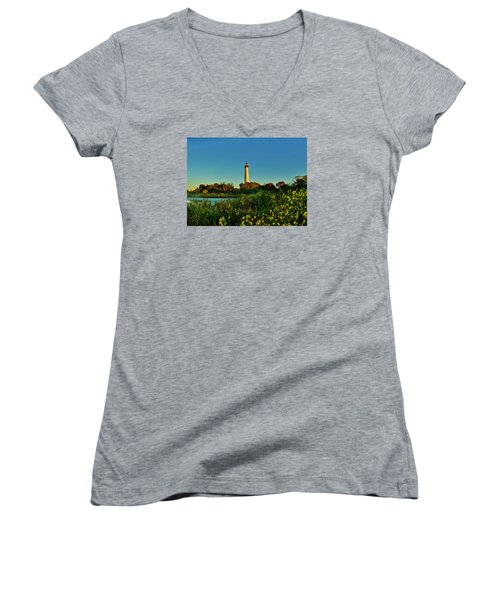 Cape May Lighthouse Above The Flowers Women's V-Neck T-Shirt (Junior Cut) by Ed Sweeney
