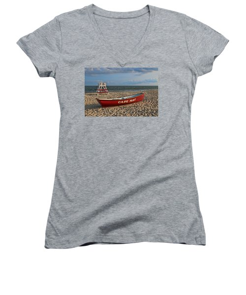 Cape May N J Rescue Boat Women's V-Neck