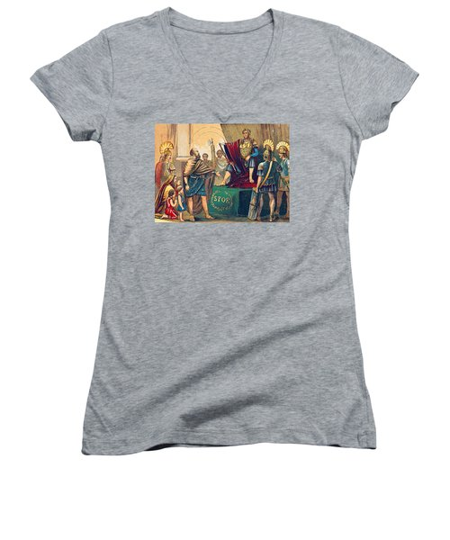Women's V-Neck T-Shirt (Junior Cut) featuring the photograph Caractacus Before Emperor Claudius, 1st by British Library