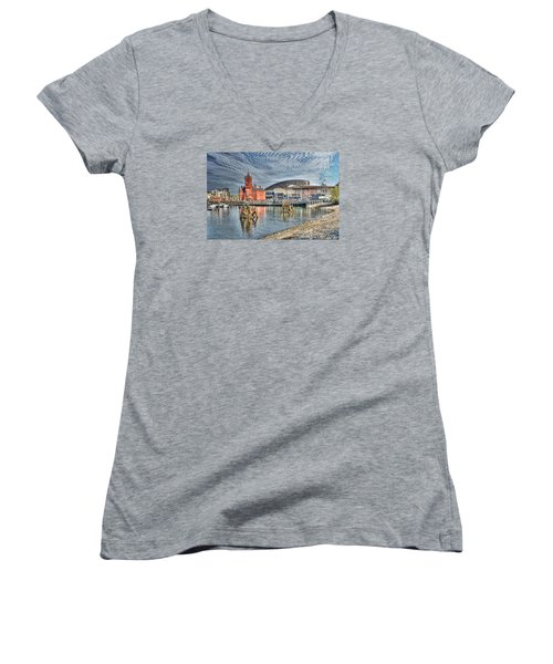 Cardiff Bay Textured Women's V-Neck T-Shirt (Junior Cut) by Steve Purnell