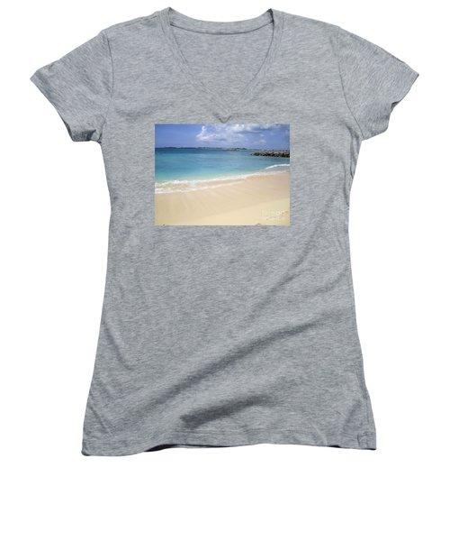 Caribbean Beach Front Women's V-Neck T-Shirt (Junior Cut) by Fiona Kennard
