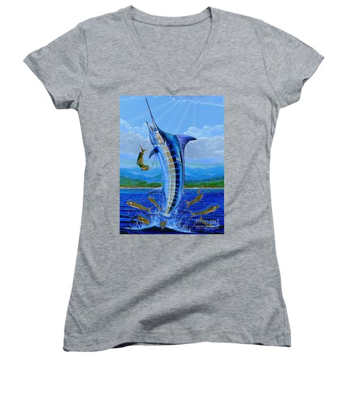 Caribbean Blue Off0041 Women's V-Neck T-Shirt (Junior Cut)