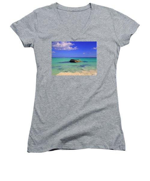 Women's V-Neck T-Shirt (Junior Cut) featuring the photograph Caribbean Colors  by Eti Reid