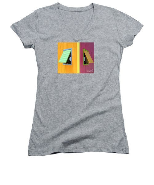 Caribbean Corner 3 Women's V-Neck T-Shirt (Junior Cut) by Randall Weidner