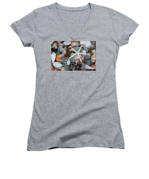 Caribbean Shells Women's V-Neck T-Shirt (Junior Cut) by The Art of Alice Terrill