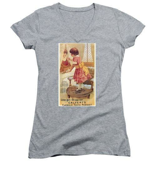 Women's V-Neck T-Shirt (Junior Cut) featuring the photograph Carlvert's Carbolic Tooth Powder Ad by Gianfranco Weiss
