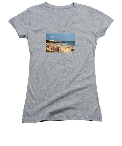 Women's V-Neck T-Shirt (Junior Cut) featuring the photograph Carolina Coast by Cynthia Guinn