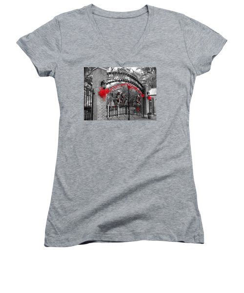 Carousel Gardens - New Orleans City Park Women's V-Neck T-Shirt (Junior Cut) by Deborah Lacoste