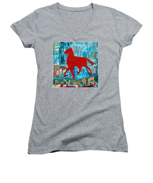 Carousel Women's V-Neck T-Shirt (Junior Cut) by Patricia Cleasby