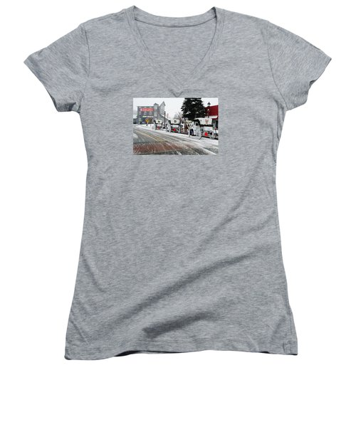 Carriage Ride Women's V-Neck T-Shirt (Junior Cut) by Janice Adomeit