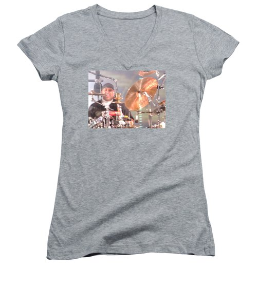 Women's V-Neck T-Shirt (Junior Cut) featuring the photograph Carter Doing What He Does Best by Aaron Martens