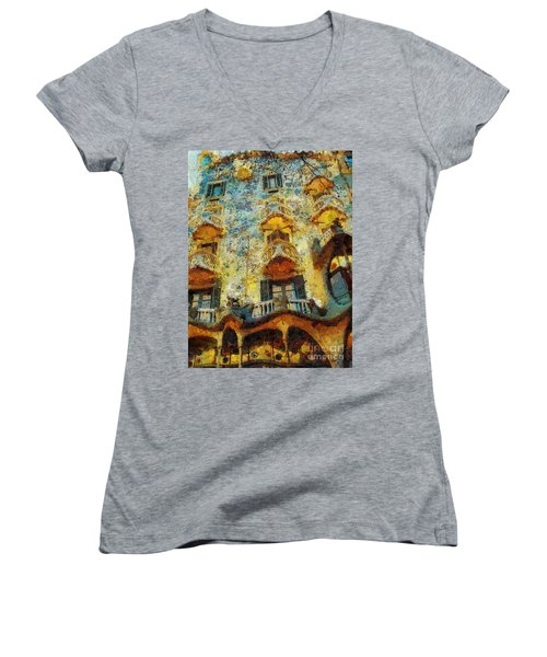 Casa Battlo Women's V-Neck T-Shirt (Junior Cut) by Mo T