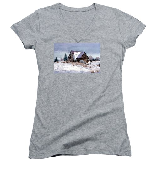 Women's V-Neck T-Shirt (Junior Cut) featuring the painting Cache Valley Barn by Donald Maier