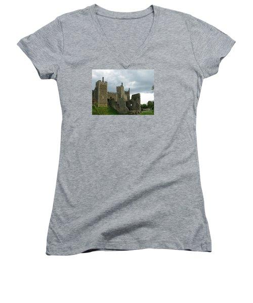 Castle Curtain Wall Women's V-Neck T-Shirt (Junior Cut) by Ann Horn