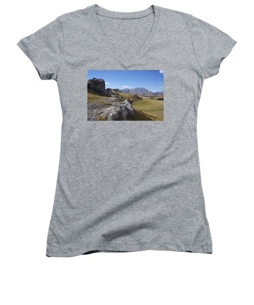 Women's V-Neck T-Shirt (Junior Cut) featuring the photograph Castle Hill #6 by Stuart Litoff