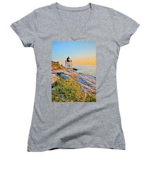 Castle Hill Lighthouse 1 Newport Women's V-Neck (Athletic Fit)