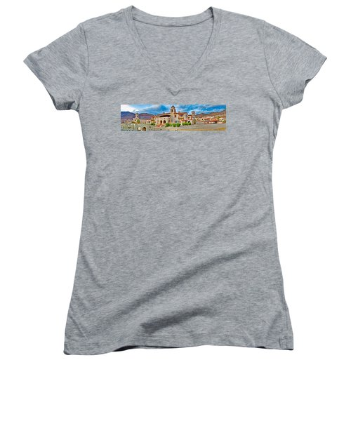 Castle In A Desert, Scottys Castle Women's V-Neck T-Shirt (Junior Cut) by Panoramic Images