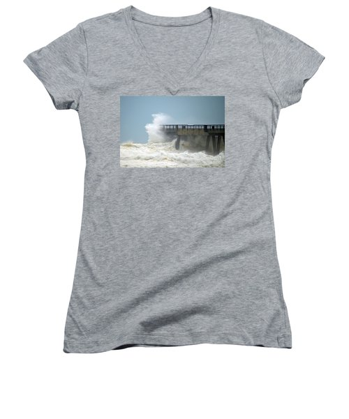 0828 Cat 1 Hurricane Isaac Crashes Into Navarre Beach Pier Women's V-Neck T-Shirt (Junior Cut) by Jeff at JSJ Photography