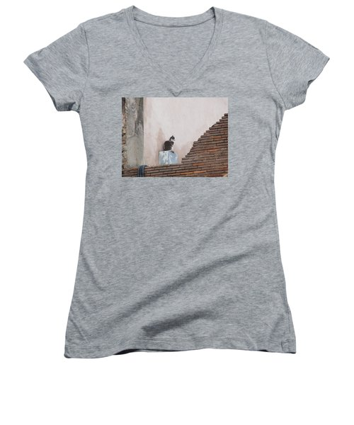 Women's V-Neck T-Shirt (Junior Cut) featuring the photograph Cat Above The Roman Ruins by Tiffany Erdman
