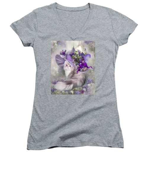 Women's V-Neck T-Shirt featuring the mixed media Cat In Easter Lilac Hat by Carol Cavalaris