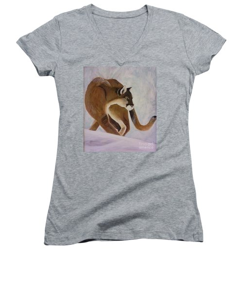 Cat In Snow Women's V-Neck T-Shirt (Junior Cut) by Christy Saunders Church